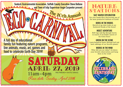 A Banner image announcing the 10th Annual Eco-Carnival to be held on Saturday 27th, 2019 from 11am-4pm