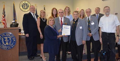Supervisor Carpenter and the Islip Town Board stand next to Islip Elks representatives as the Citation of Recongition is Presented to the Islip Elks
