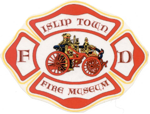 Islip Fire Museum Logo featuring the words Islip Town Fire Department, with an early 19th Century Fire Truck graphic at the center