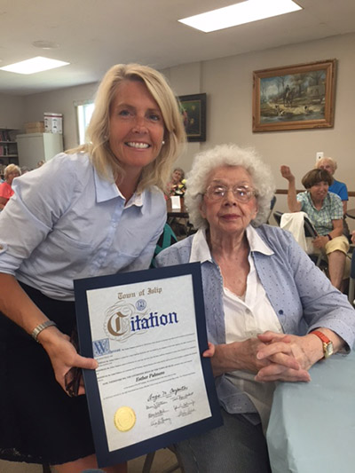 Councilwoman Mary Kate Mullen joined Ms. Esther Palmero to celebrate her 90th birthday