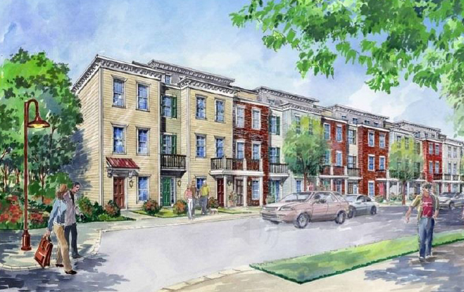An artist's rendition of a revitalized neighborhood with modern/traditional housing units and residents enjoying a walk