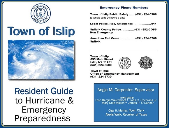 A banner image, click here to view and download the Town of Islip Resident Guide to Hurricane Emergency Preparedness